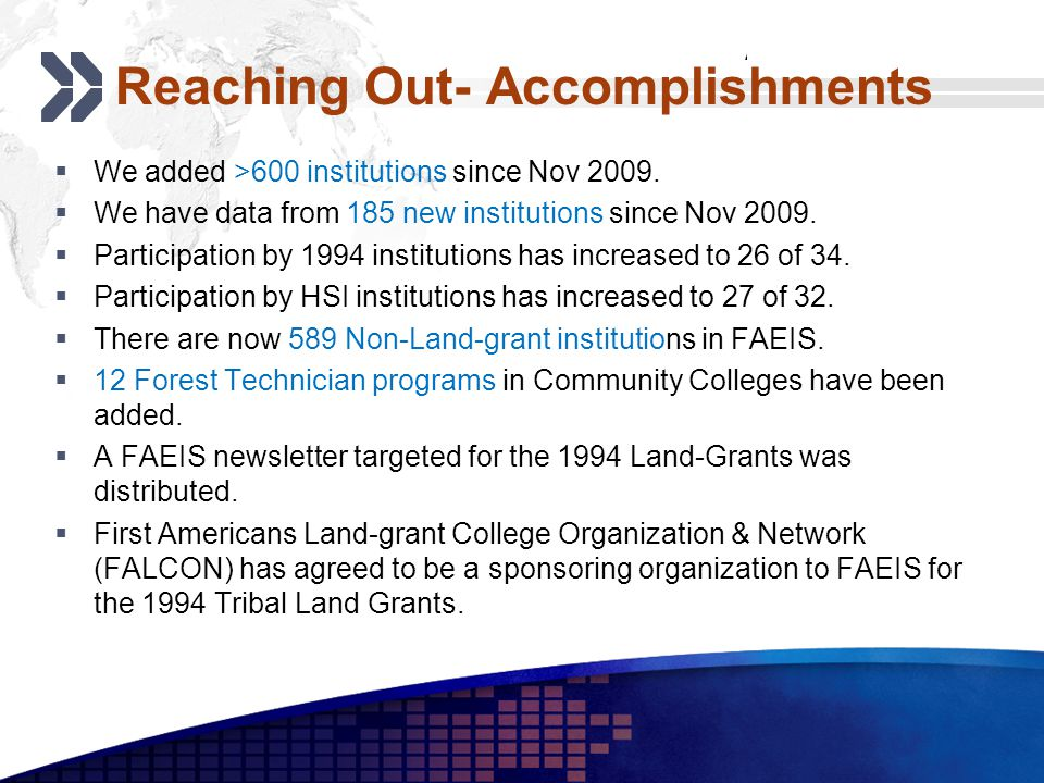 Add your company slogan LOGO Reaching Out- Accomplishments We added >600 institutions since Nov 2009.