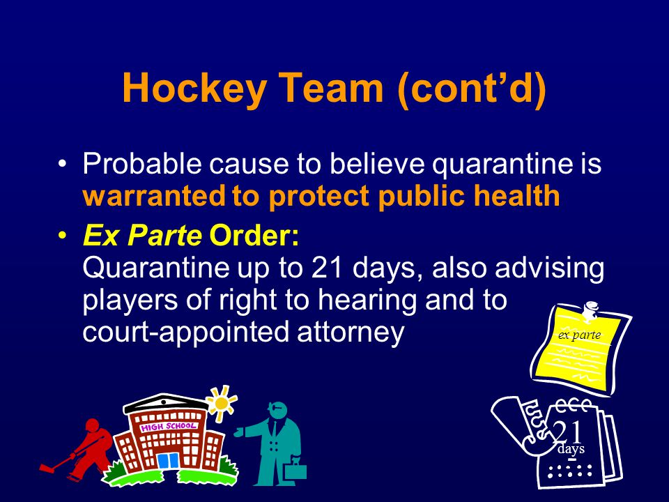 Hockey Team (contd) Probable cause to believe quarantine is warranted to protect public health Ex Parte Order: Quarantine up to 21 days, also advising