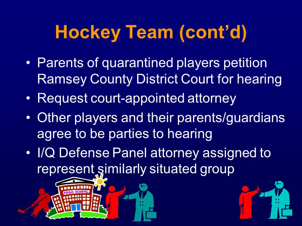 Hockey Team (contd) Parents of quarantined players petition Ramsey County District Court for hearing Request court-appointed attorney Other players an
