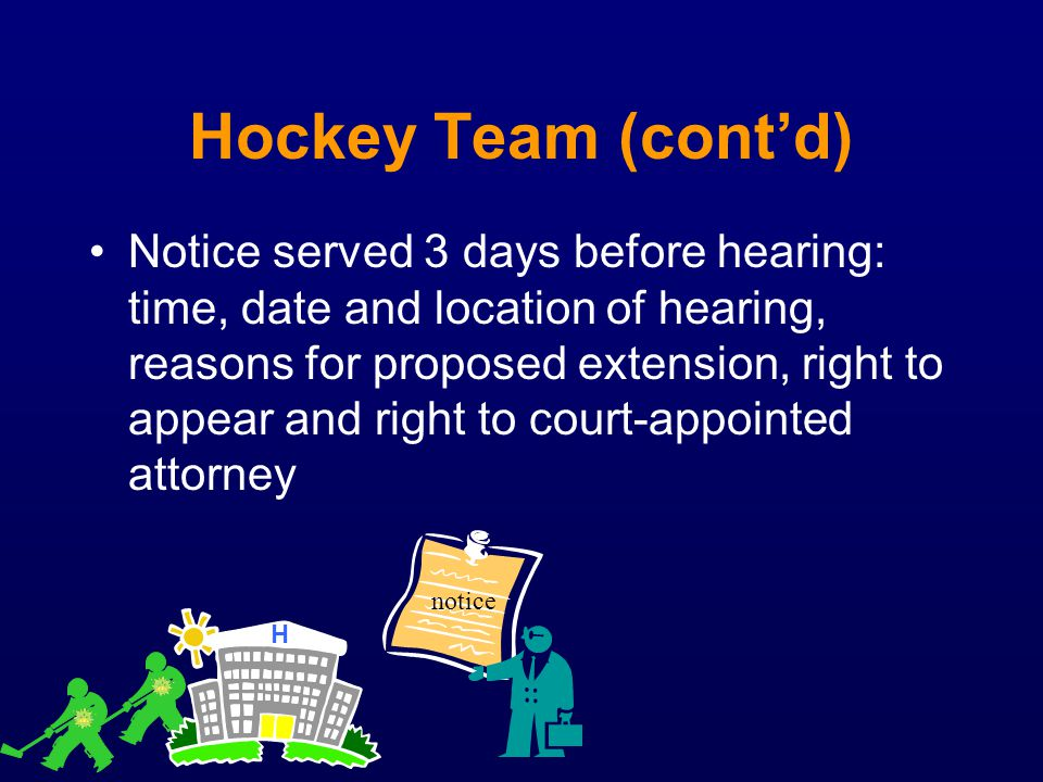 Hockey Team (contd) Notice served 3 days before hearing: time, date and location of hearing, reasons for proposed extension, right to appear and right