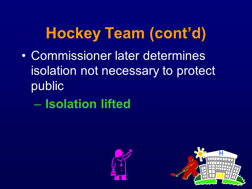 Hockey Team (contd) Commissioner later determines isolation not necessary to protect public – Isolation lifted H