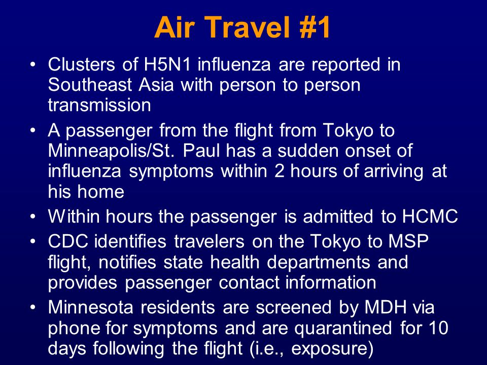 Air Travel #1 Clusters of H5N1 influenza are reported in Southeast Asia with person to person transmission A passenger from the flight from Tokyo to M