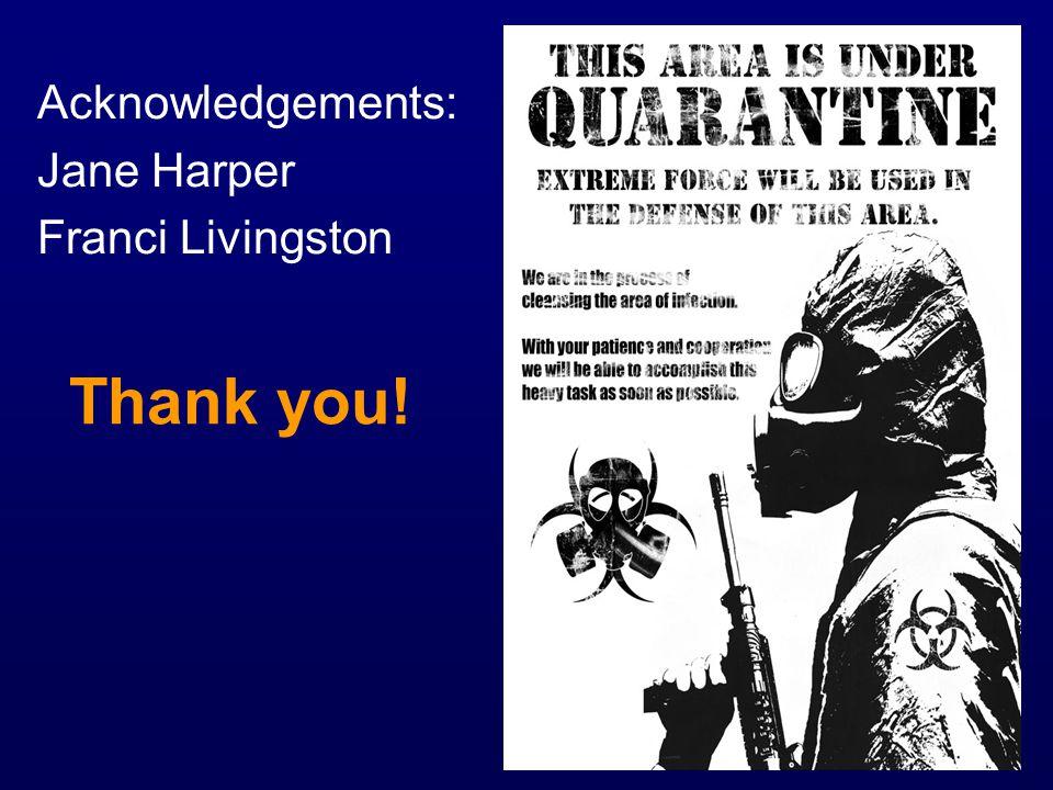 Thank you! Acknowledgements: Jane Harper Franci Livingston