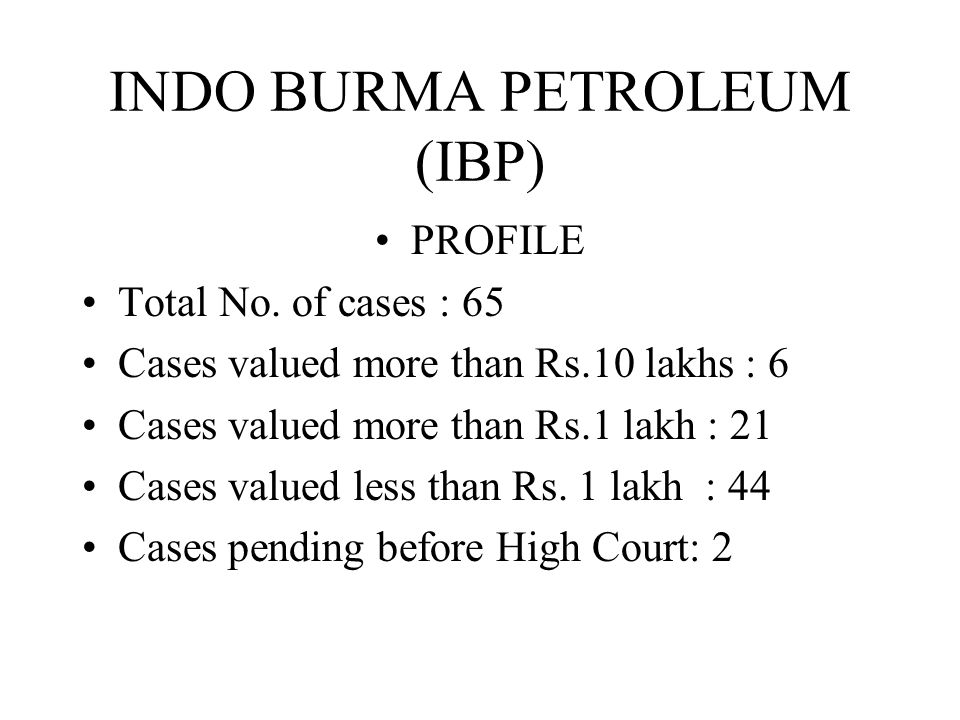 INDO BURMA PETROLEUM (IBP) PROFILE Total No.