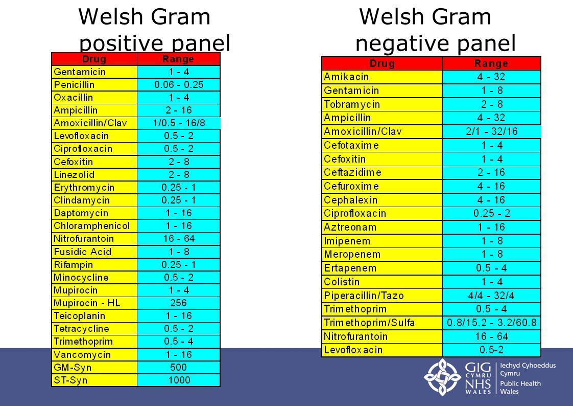 Welsh Gram negative panel Welsh Gram positive panel
