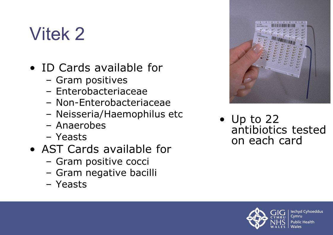 Vitek 2 ID Cards available for –Gram positives –Enterobacteriaceae –Non-Enterobacteriaceae –Neisseria/Haemophilus etc –Anaerobes –Yeasts AST Cards ava