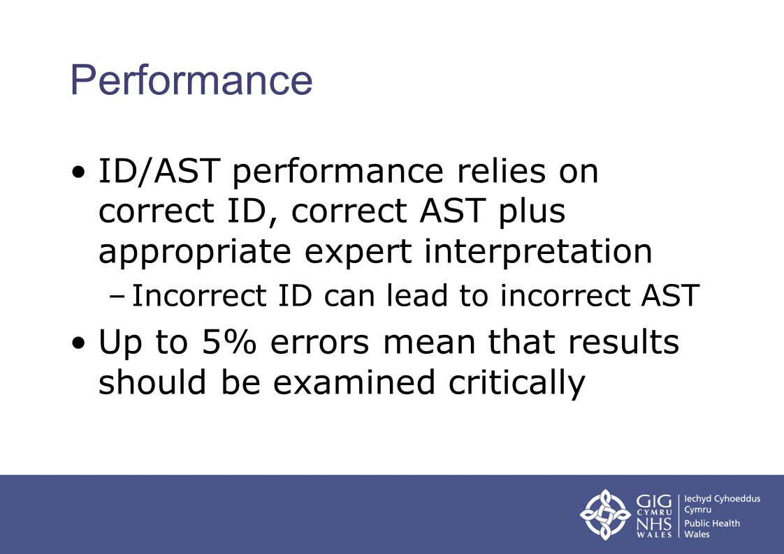 Performance ID/AST performance relies on correct ID, correct AST plus appropriate expert interpretation –Incorrect ID can lead to incorrect AST Up to