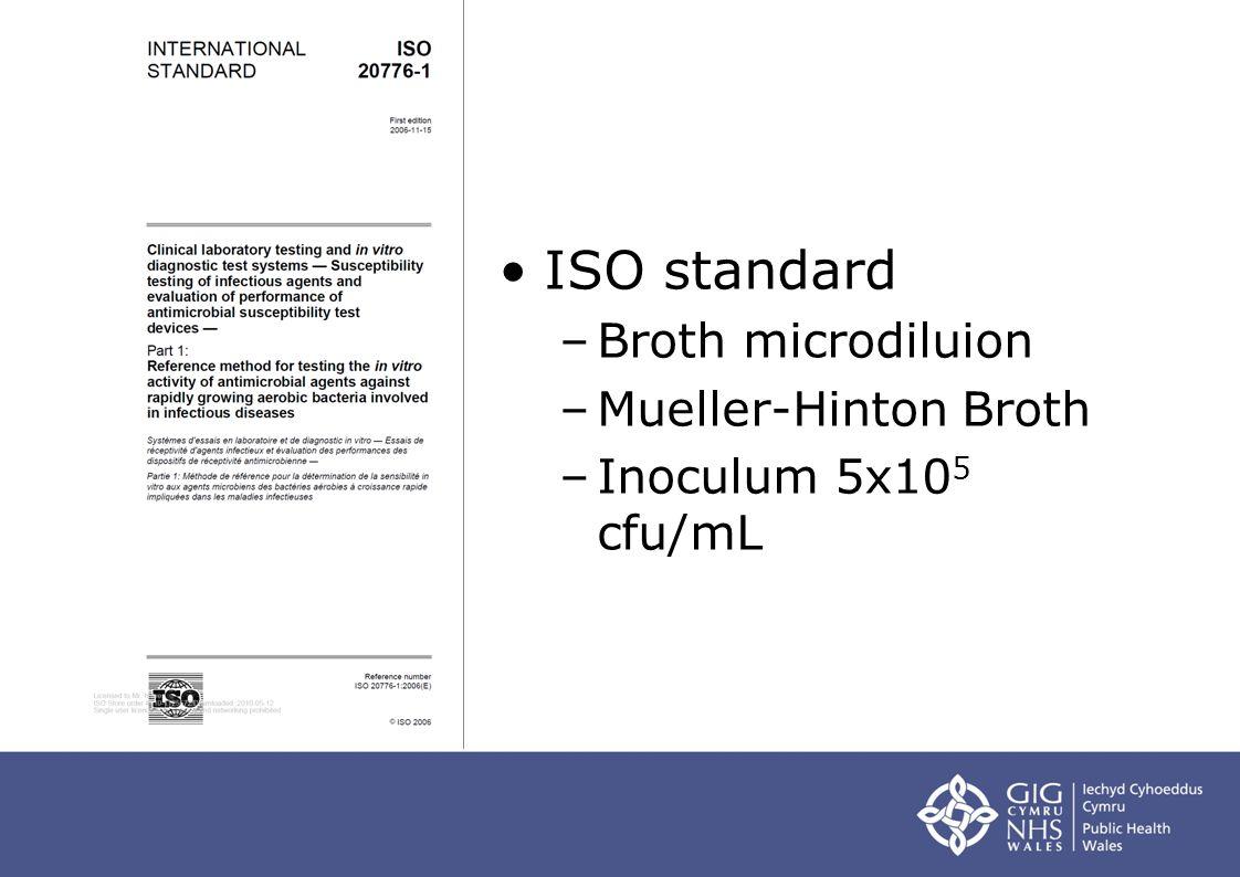 ISO standard –Broth microdiluion –Mueller-Hinton Broth –Inoculum 5x10 5 cfu/mL