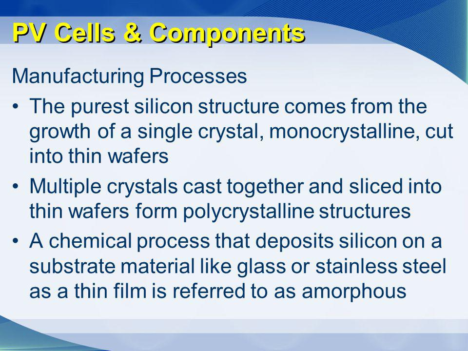 PV Cells & Components Manufacturing Processes The purest silicon structure comes from the growth of a single crystal, monocrystalline, cut into thin w