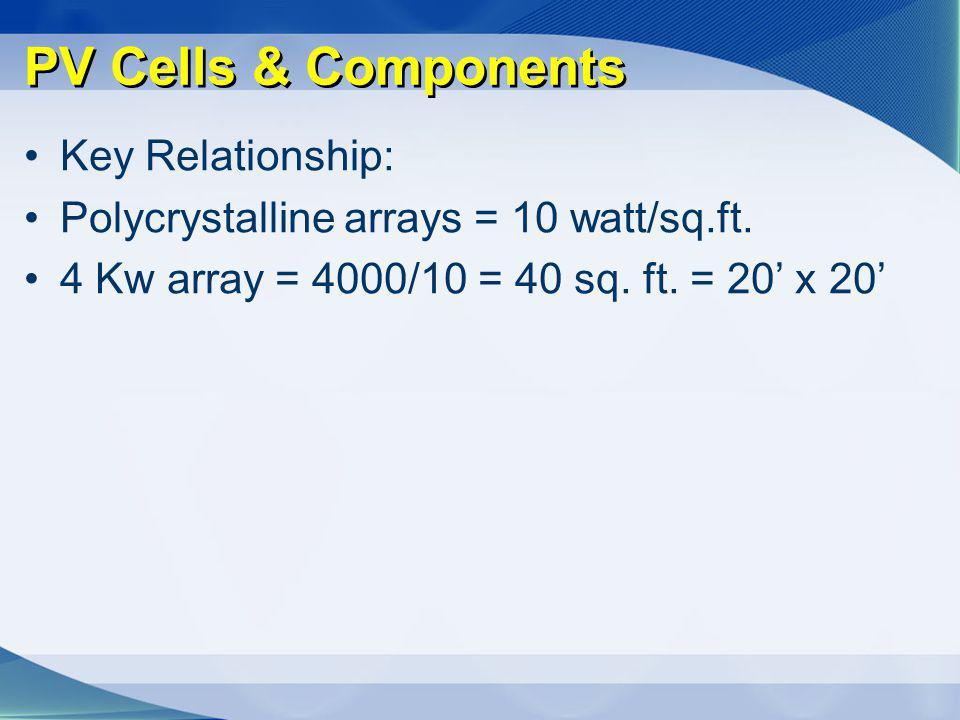 PV Cells & Components Key Relationship: Polycrystalline arrays = 10 watt/sq.ft. 4 Kw array = 4000/10 = 40 sq. ft. = 20 x 20