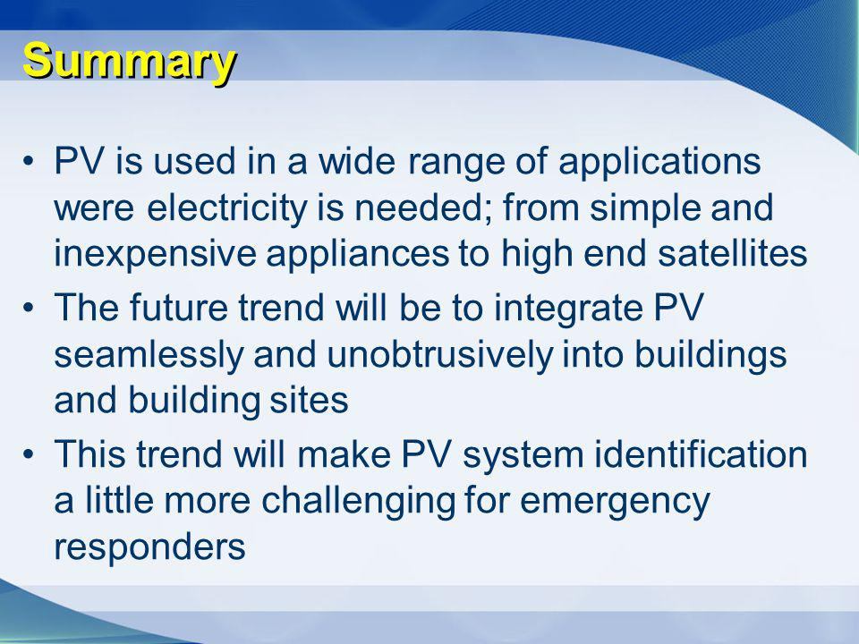 Summary PV is used in a wide range of applications were electricity is needed; from simple and inexpensive appliances to high end satellites The futur
