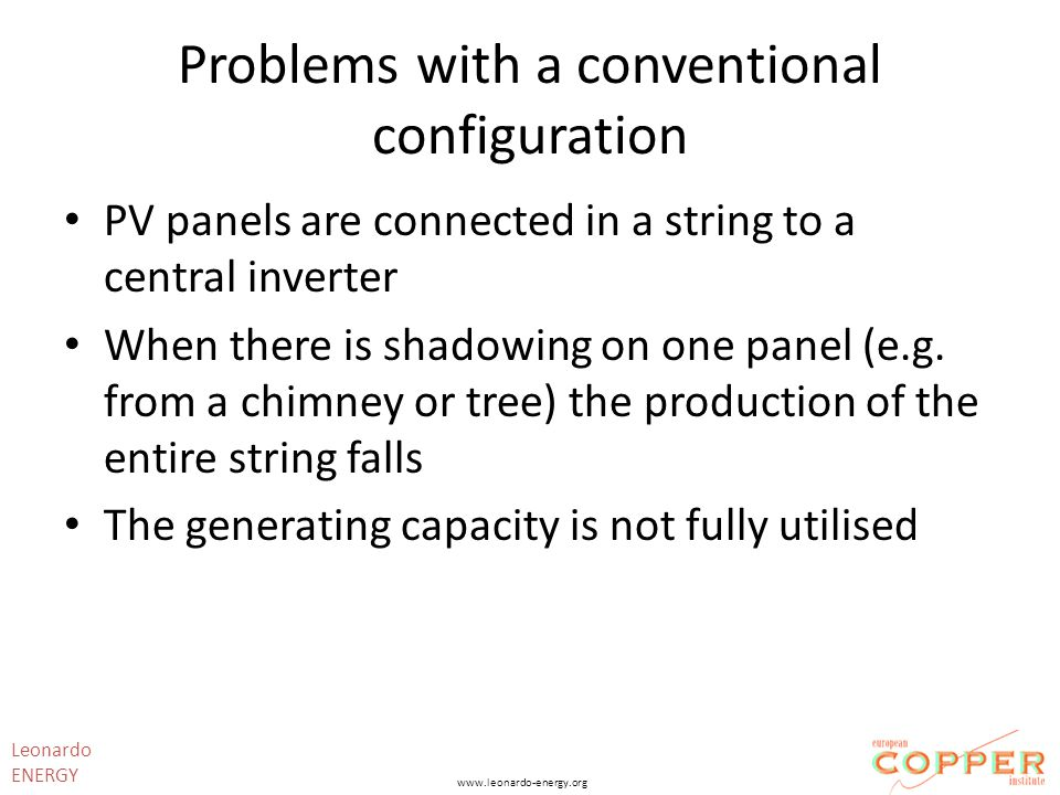 Problems with a conventional configuration PV panels are connected in a string to a central inverter When there is shadowing on one panel (e.g.