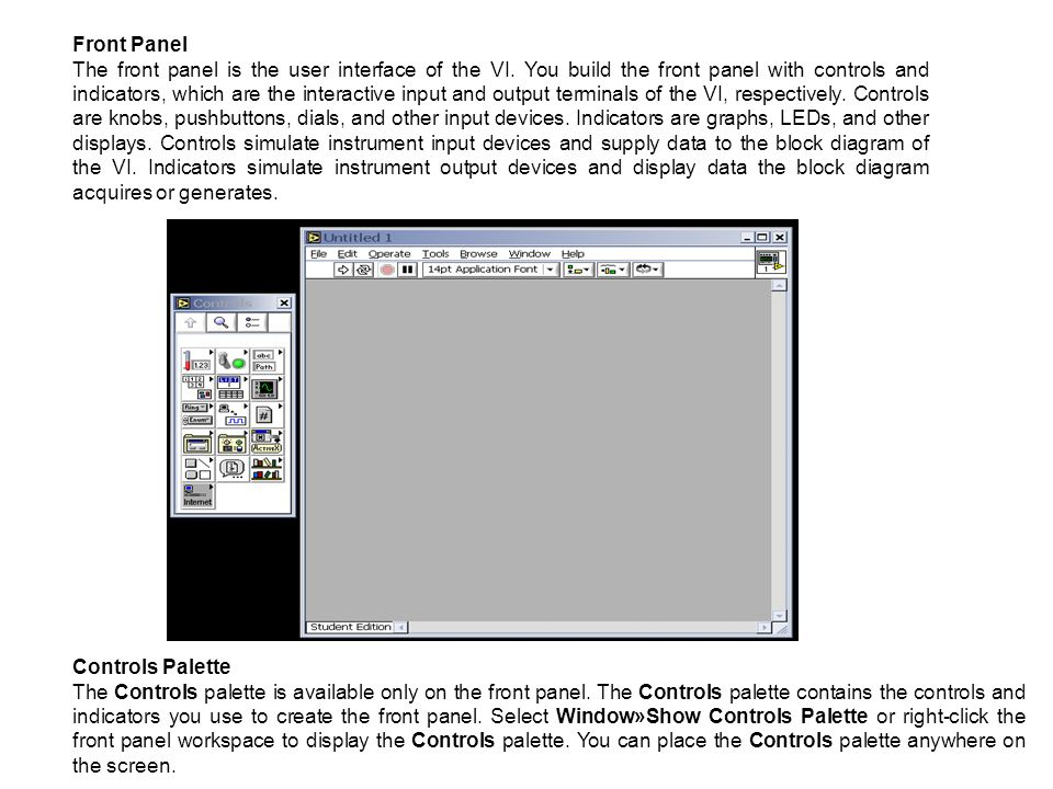 Front Panel The front panel is the user interface of the VI. You build the front panel with controls and indicators, which are the interactive input a