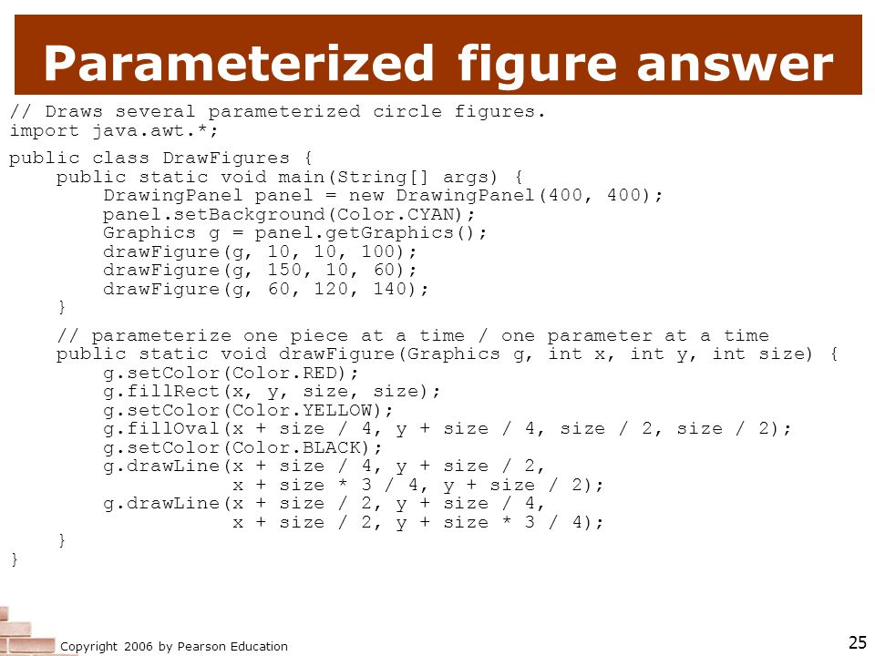 Copyright 2006 by Pearson Education 25 Parameterized figure answer // Draws several parameterized circle figures.