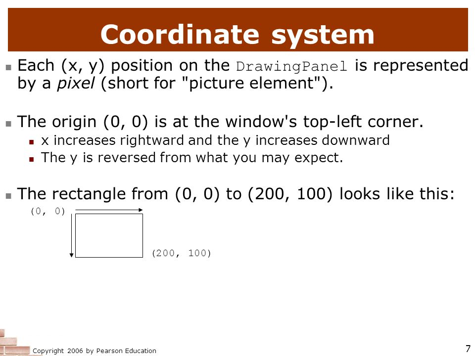 Copyright 2006 by Pearson Education 7 Coordinate system Each (x, y) position on the DrawingPanel is represented by a pixel (short for picture element ).