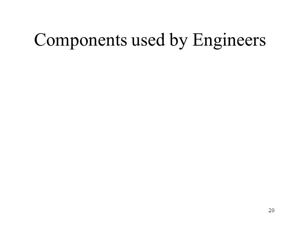 Components used by Engineers 20