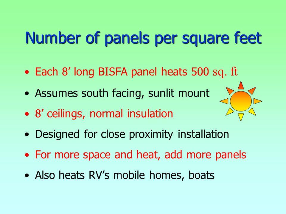 Number of panels per square feet Each 8 long BISFA panel heats 500 sq.
