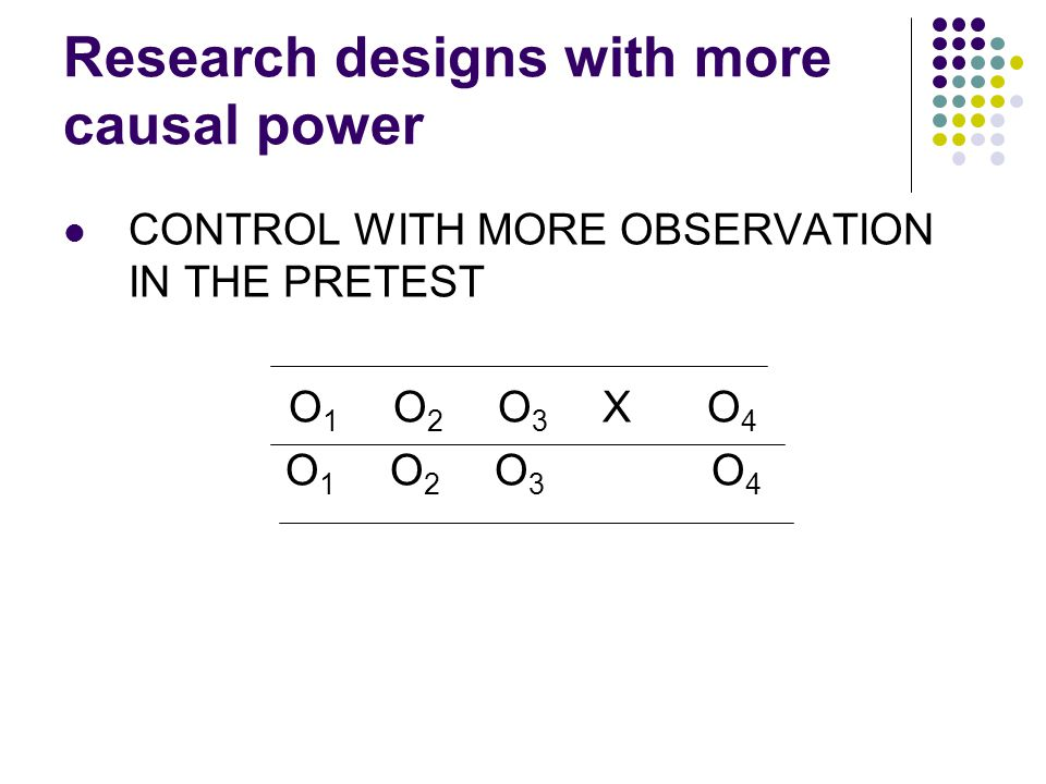 Research designs with more causal power CONTROL WITH MORE OBSERVATION IN THE PRETEST O 1 O 2 O 3 XO 4 O 1 O 2 O 3 O 4