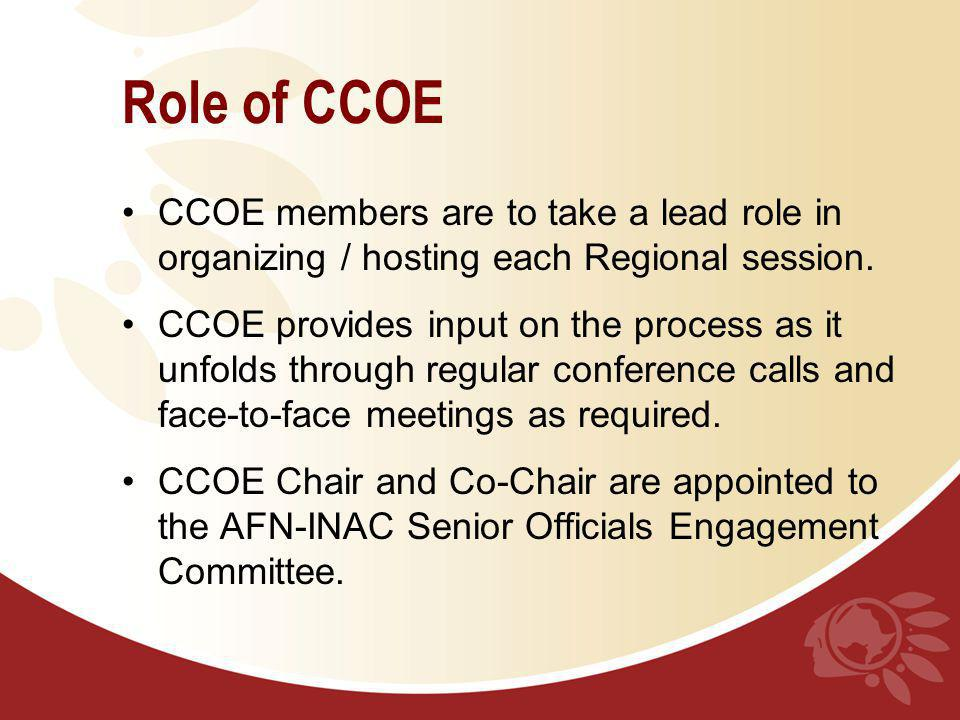 Role of CCOE CCOE members are to take a lead role in organizing / hosting each Regional session. CCOE provides input on the process as it unfolds thro