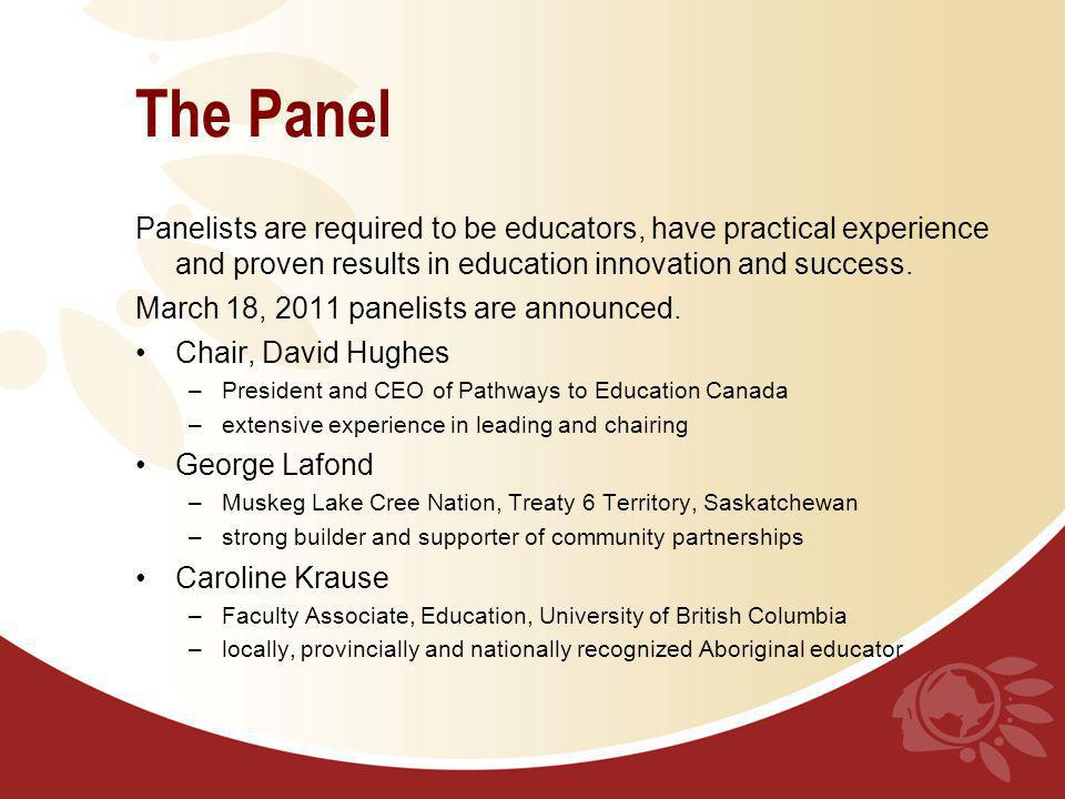 The Panel Panelists are required to be educators, have practical experience and proven results in education innovation and success.