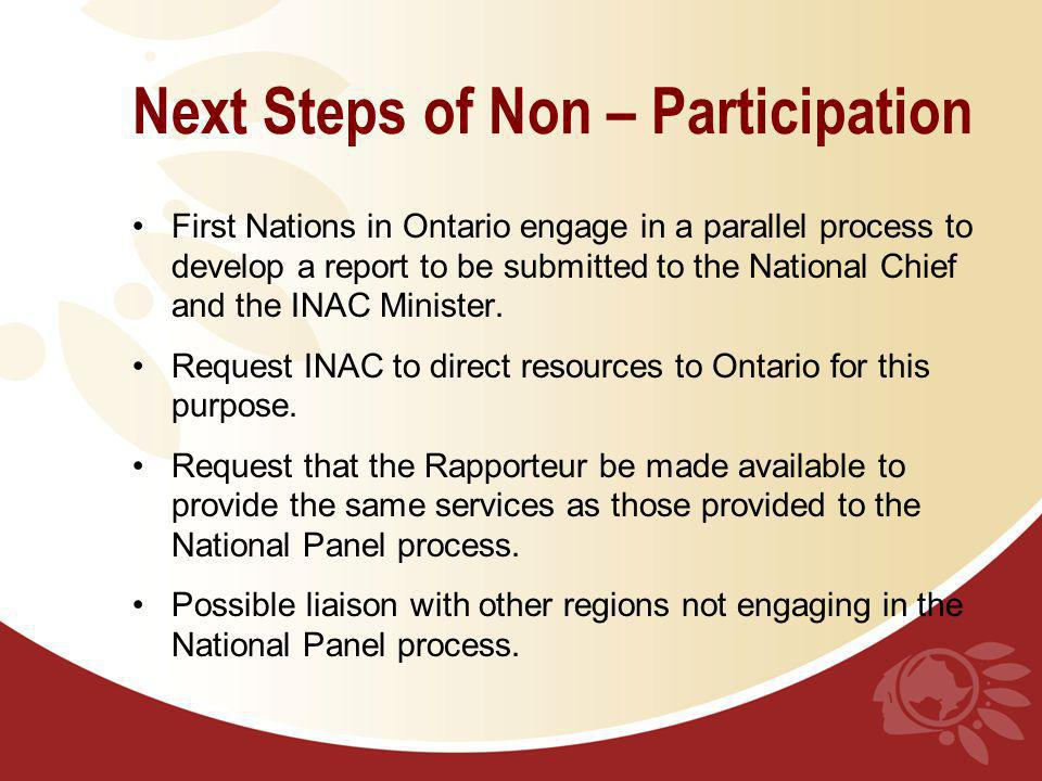 Next Steps of Non – Participation First Nations in Ontario engage in a parallel process to develop a report to be submitted to the National Chief and the INAC Minister.