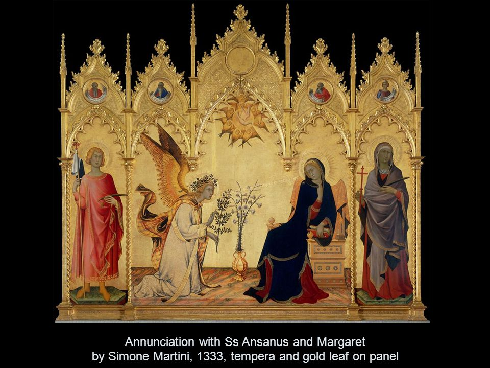 Annunciation with Ss Ansanus and Margaret by Simone Martini, 1333, tempera and gold leaf on panel