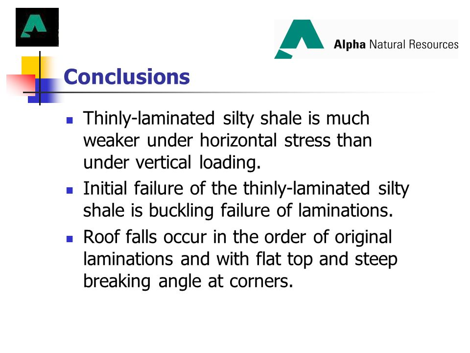Conclusions Thinly-laminated silty shale is much weaker under horizontal stress than under vertical loading. Initial failure of the thinly-laminated s