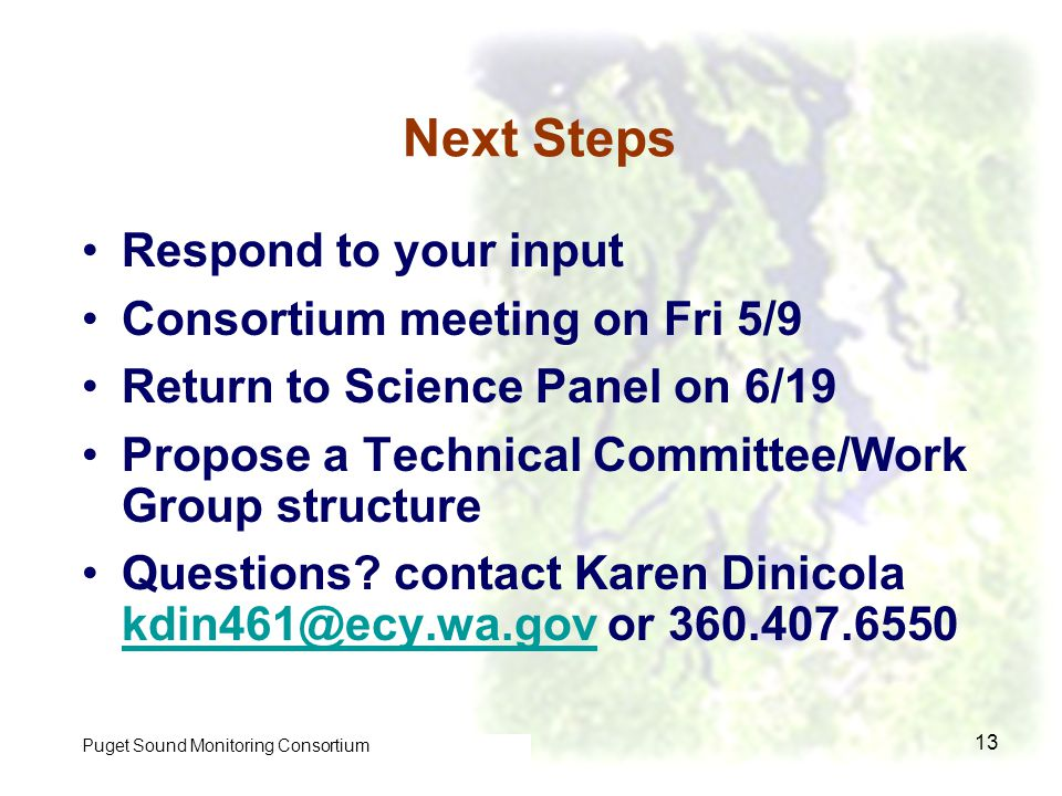 Control of Toxic Chemicals in Puget Sound Phase I 13 Next Steps Respond to your input Consortium meeting on Fri 5/9 Return to Science Panel on 6/19 Propose a Technical Committee/Work Group structure Questions.