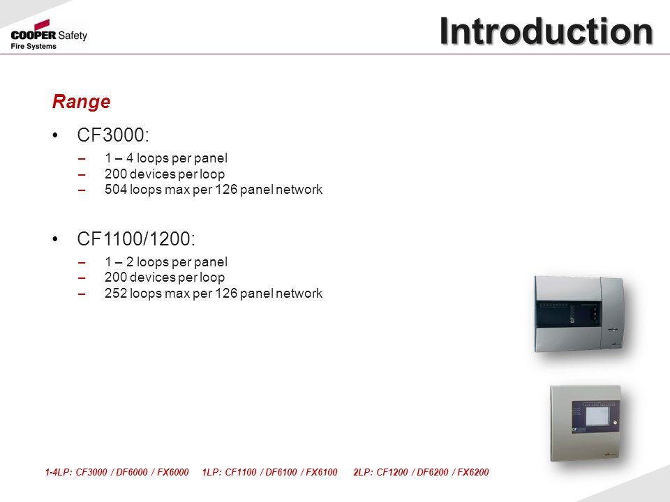 Introduction Introduction Range CF3000: –1 – 4 loops per panel –200 devices per loop –504 loops max per 126 panel network CF1100/1200: –1 – 2 loops pe