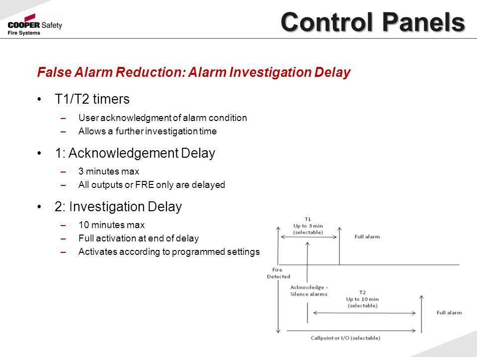 False Alarm Reduction: Alarm Investigation Delay T1/T2 timers –User acknowledgment of alarm condition –Allows a further investigation time 1: Acknowle