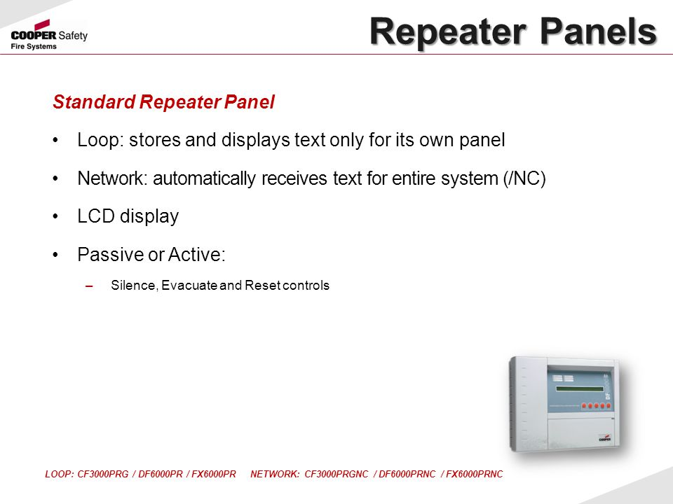 Standard Repeater Panel Loop: stores and displays text only for its own panel Network: automatically receives text for entire system (/NC) LCD display