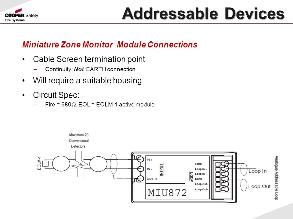 Miniature Zone Monitor Module Connections Cable Screen termination point –Continuity: Not EARTH connection Will require a suitable housing Circuit Spe