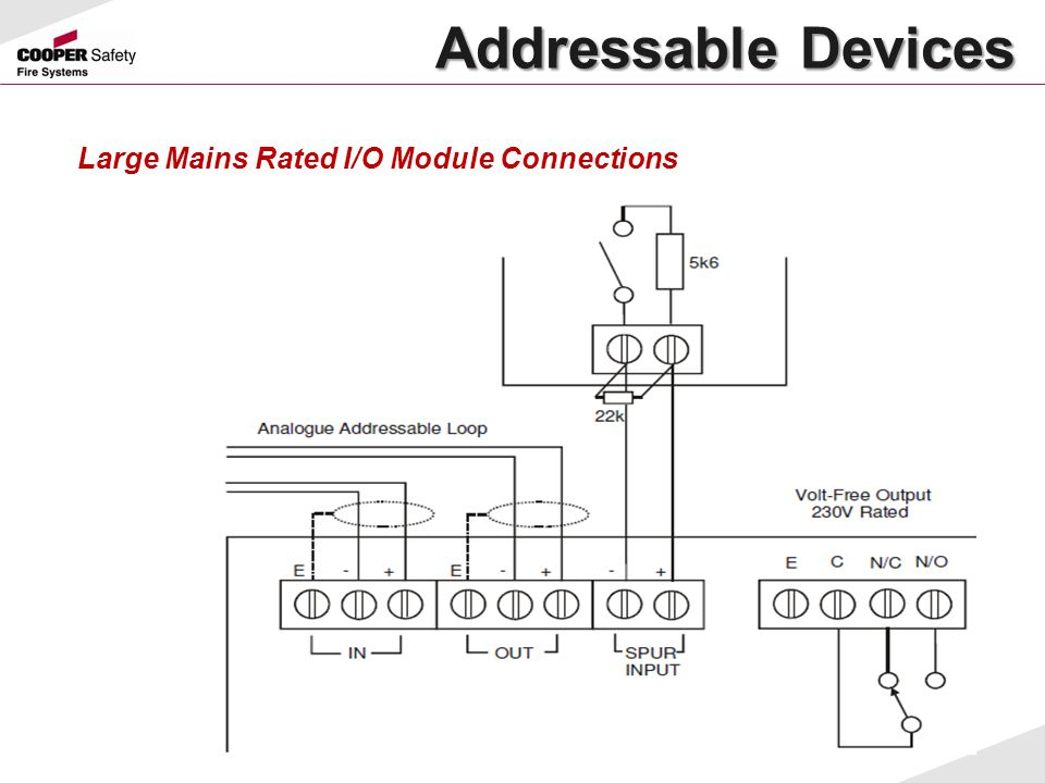 Large Mains Rated I/O Module Connections Addressable Devices