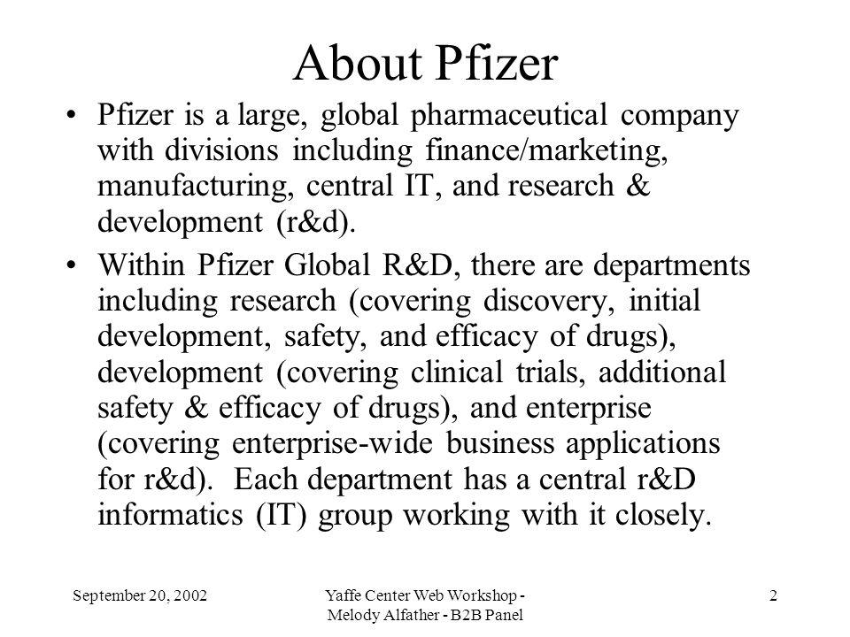 September 20, 2002Yaffe Center Web Workshop - Melody Alfather - B2B Panel 3 Pfizer Global Research & Development 4 main sites for r&d division: Ann Arbor, MI; Groton, CT; Sandwich, UK; La Jolla, CA.