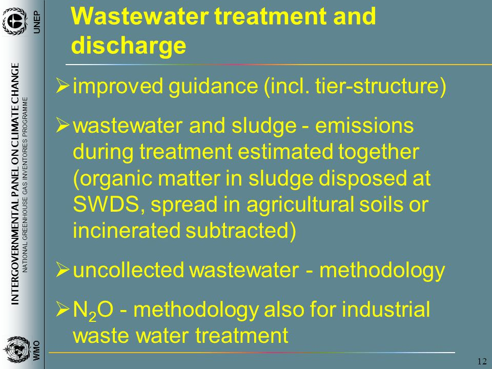 INTERGOVERNMENTAL PANEL ON CLIMATE CHANGE NATIONAL GREENHOUSE GAS INVENTORIES PROGRAMME WMO UNEP 12 Wastewater treatment and discharge improved guidance (incl.