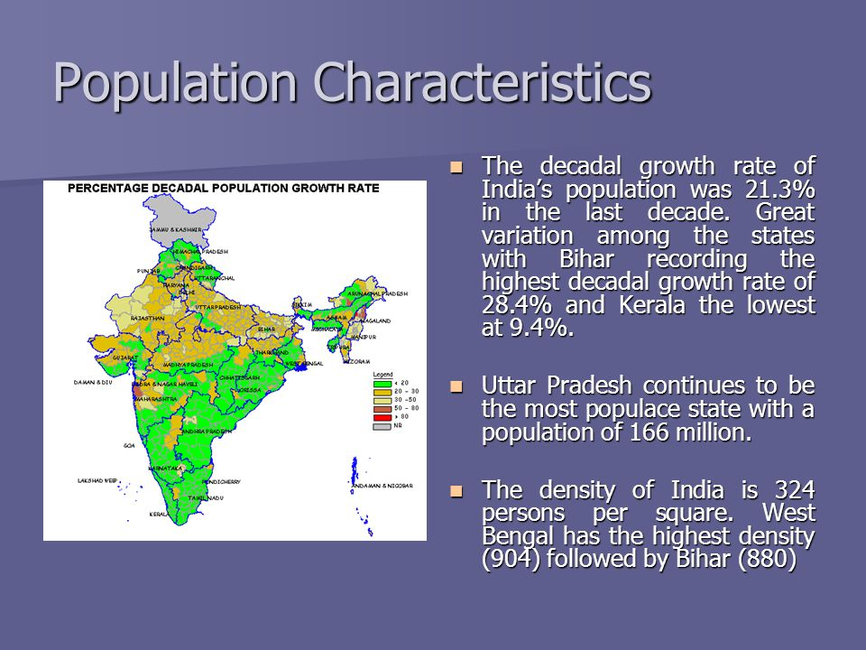 Population Characteristics The decadal growth rate of Indias population was 21.3% in the last decade. Great variation among the states with Bihar reco