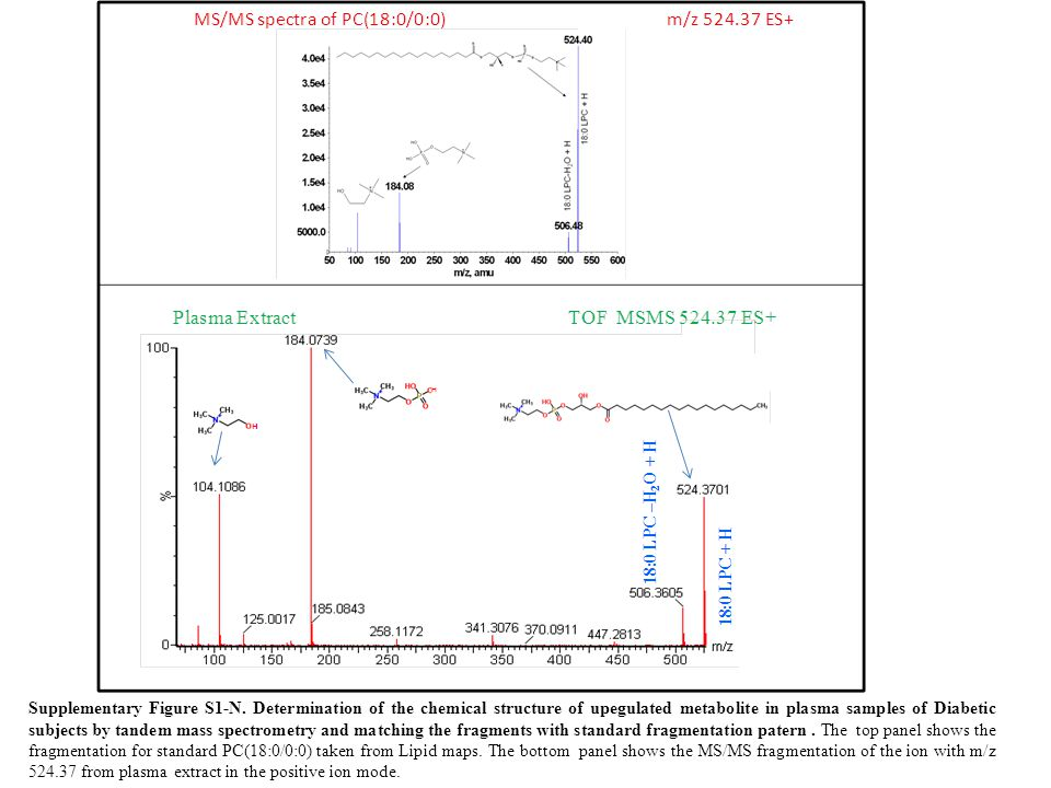 Supplementary Figure S1-N. Determination of the chemical structure of upegulated metabolite in plasma samples of Diabetic subjects by tandem mass spec
