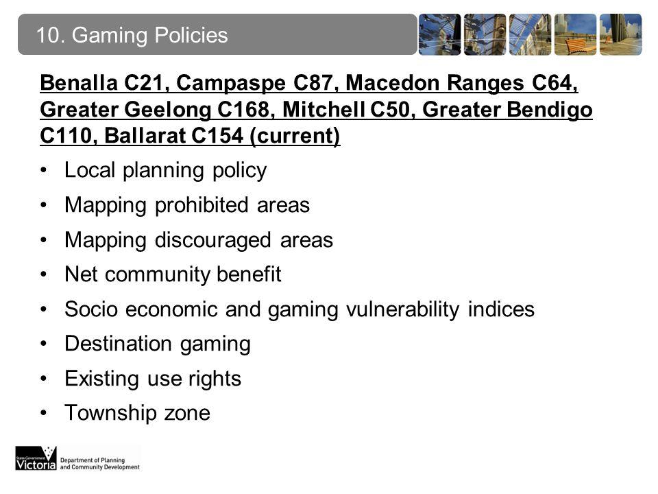 10. Gaming Policies Benalla C21, Campaspe C87, Macedon Ranges C64, Greater Geelong C168, Mitchell C50, Greater Bendigo C110, Ballarat C154 (current) L