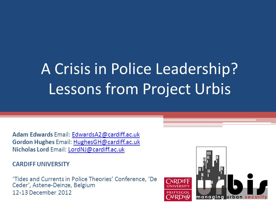 A Crisis in Police Leadership.