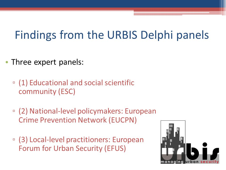 Findings from the URBIS Delphi panels Three expert panels: (1) Educational and social scientific community (ESC) (2) National-level policymakers: European Crime Prevention Network (EUCPN) (3) Local-level practitioners: European Forum for Urban Security (EFUS)
