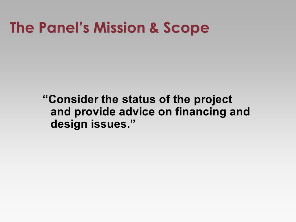 The Panels Mission & Scope Consider the status of the project and provide advice on financing and design issues.
