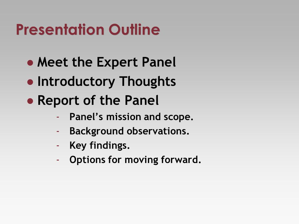 Presentation Outline Meet the Expert Panel Introductory Thoughts Report of the Panel - Panels mission and scope.