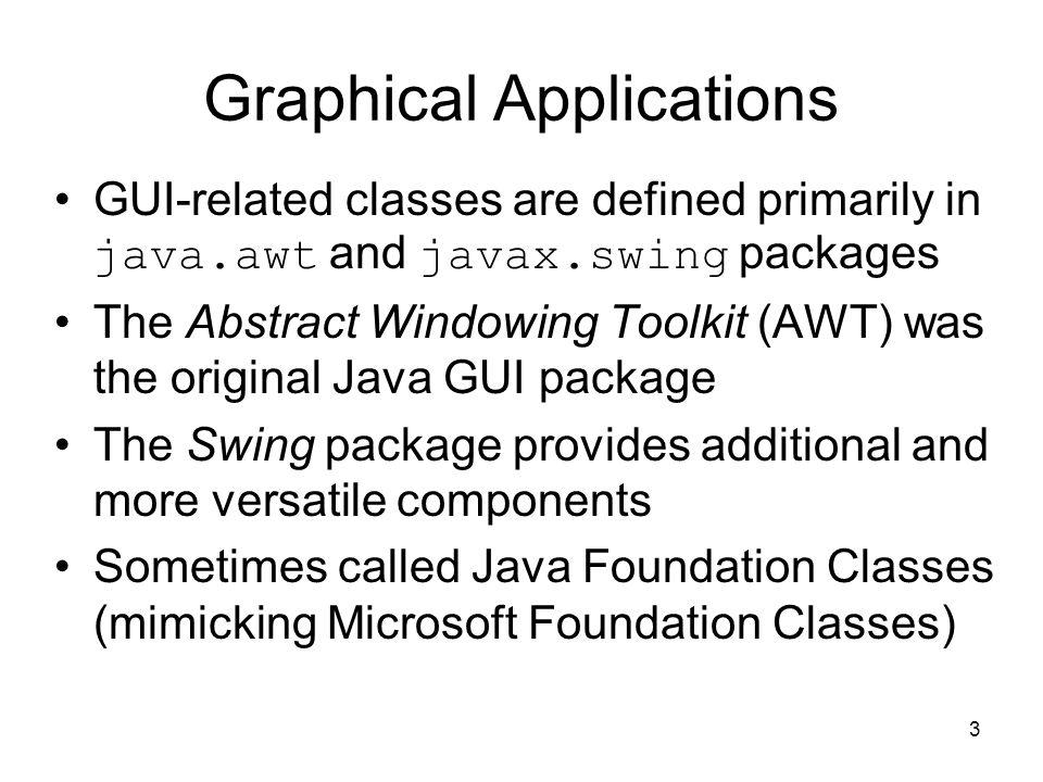 14 NestedPanels.java import java.awt.*; import javax.swing.*; public class NestedPanels { public static void main (String[] args) { JFrame frame = new JFrame ( Nested Panels ); frame.setDefaultCloseOperation (JFrame.EXIT_ON_CLOSE); // Set up first subpanel JPanel subPanel1 = new JPanel(); subPanel1.setPreferredSize (new Dimension(150, 100)); subPanel1.setBackground (Color.GREEN); JLabel label1 = new JLabel ( One ); subPanel1.add (label1);