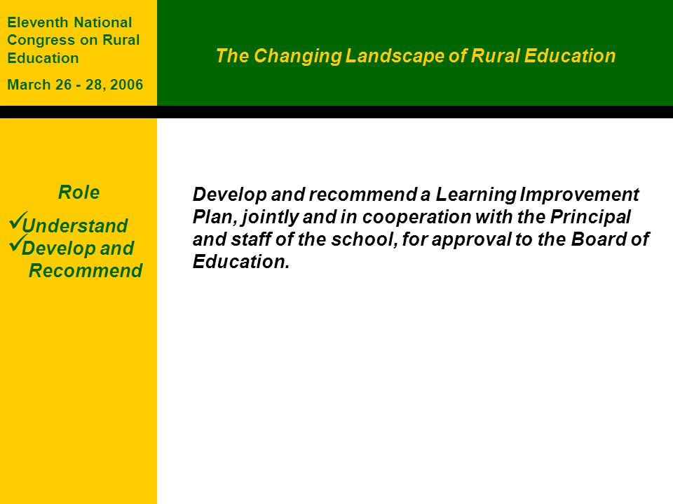 The Changing Landscape of Rural Education Eleventh National Congress on Rural Education March 26 - 28, 2006 Role Understand Develop and Recommend Develop and recommend a Learning Improvement Plan, jointly and in cooperation with the Principal and staff of the school, for approval to the Board of Education.