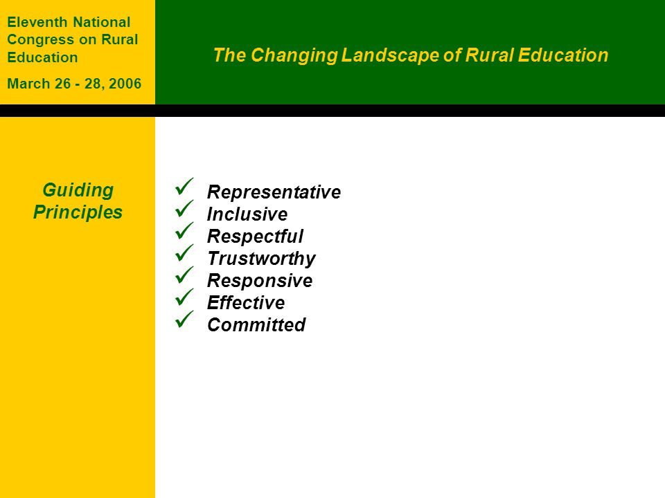 The Changing Landscape of Rural Education Eleventh National Congress on Rural Education March 26 - 28, 2006 Guiding Principles Representative Inclusive Respectful Trustworthy Responsive Effective Committed