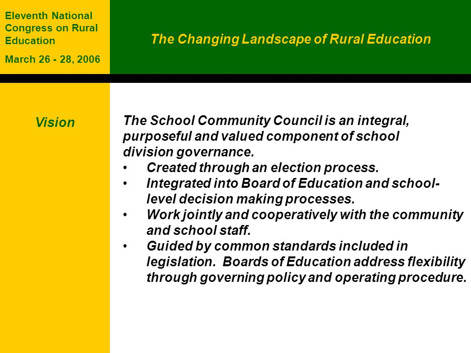 The Changing Landscape of Rural Education Eleventh National Congress on Rural Education March 26 - 28, 2006 Role Understand Develop and Recommend Advise and Approve Provide advice and represent the parents and community to: the Board of Education on policies, programs and educational service delivery decisions, including grade discontinuance, school closure, religious observances and language of instruction; the school on its programs and operations; other organizations, agencies and governments on the learning and well-being needs of children and youth; and, Approve fundraising activities, school fees and the Student Code of Conduct.