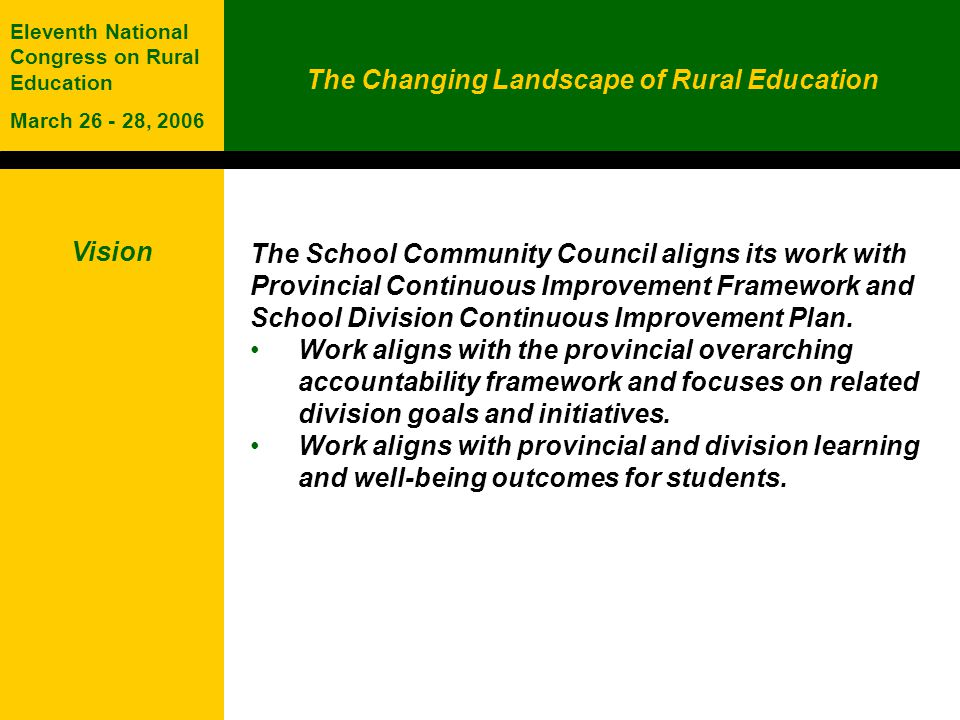 The Changing Landscape of Rural Education Eleventh National Congress on Rural Education March 26 - 28, 2006 Vision The School Community Council aligns its work with Provincial Continuous Improvement Framework and School Division Continuous Improvement Plan.