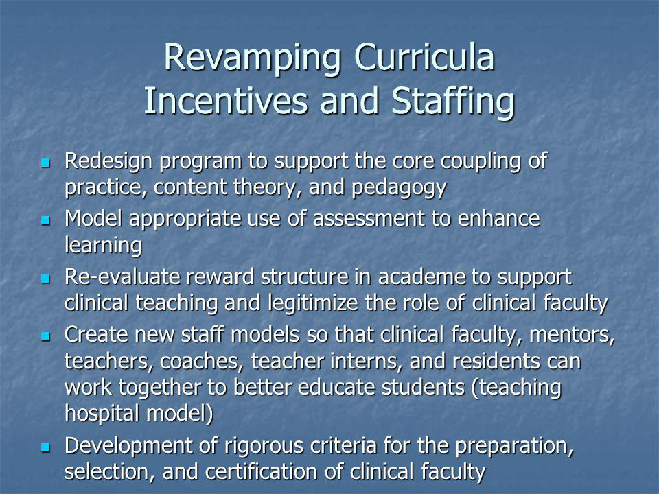 Revamping Curricula Incentives and Staffing Redesign program to support the core coupling of practice, content theory, and pedagogy Redesign program to support the core coupling of practice, content theory, and pedagogy Model appropriate use of assessment to enhance learning Model appropriate use of assessment to enhance learning Re-evaluate reward structure in academe to support clinical teaching and legitimize the role of clinical faculty Re-evaluate reward structure in academe to support clinical teaching and legitimize the role of clinical faculty Create new staff models so that clinical faculty, mentors, teachers, coaches, teacher interns, and residents can work together to better educate students (teaching hospital model) Create new staff models so that clinical faculty, mentors, teachers, coaches, teacher interns, and residents can work together to better educate students (teaching hospital model) Development of rigorous criteria for the preparation, selection, and certification of clinical faculty Development of rigorous criteria for the preparation, selection, and certification of clinical faculty
