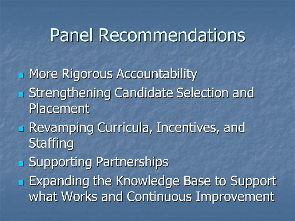 Panel Recommendations More Rigorous Accountability More Rigorous Accountability Strengthening Candidate Selection and Placement Strengthening Candidate Selection and Placement Revamping Curricula, Incentives, and Staffing Revamping Curricula, Incentives, and Staffing Supporting Partnerships Supporting Partnerships Expanding the Knowledge Base to Support what Works and Continuous Improvement Expanding the Knowledge Base to Support what Works and Continuous Improvement