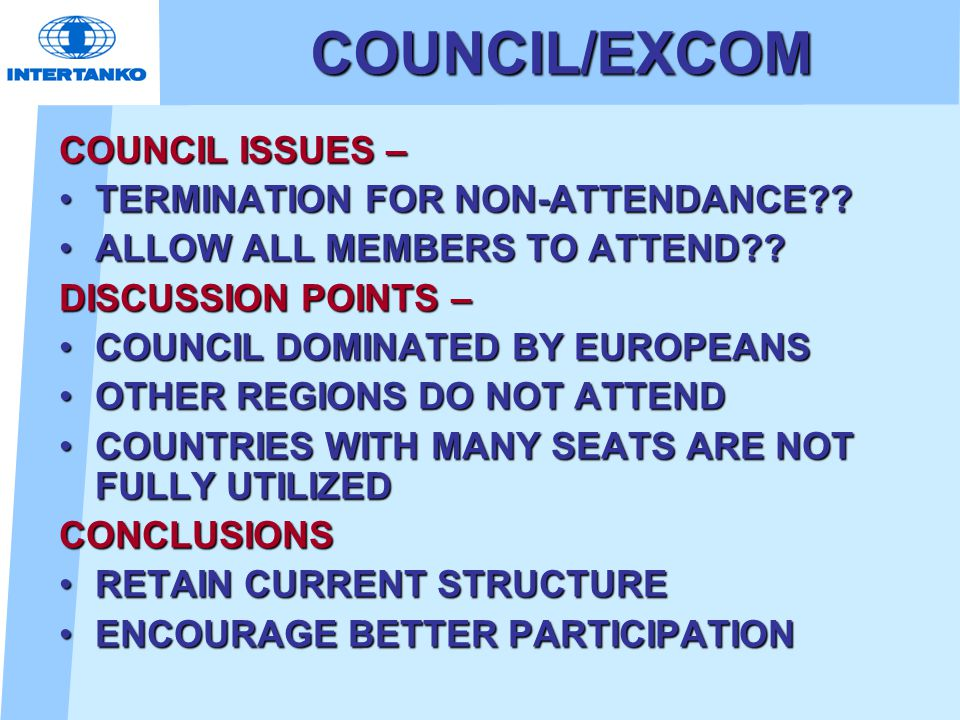 COUNCIL/EXCOM COUNCIL ISSUES – TERMINATION FOR NON-ATTENDANCE TERMINATION FOR NON-ATTENDANCE .